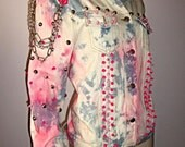 Candy pink punk BARBIE winged skull heart patch neon spikes studded VINTAGE 90s denim jacket