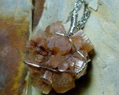 Aragonite Sputnik Crystal Cluster Sterling Silver Wire Pendant