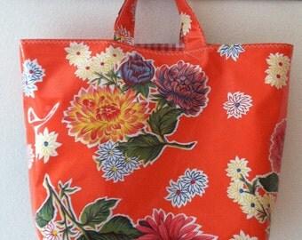 Beth's Orange Mum Oilcloth Grocery Tote Market Bag