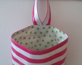 Beth's Pink Stripes Oilcloth Car Trash Bag Receptacle Storage