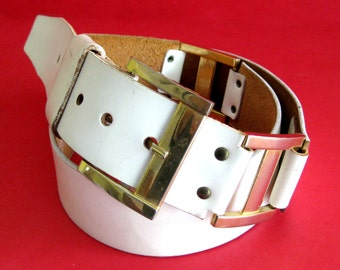 Mod Vintage BELT White Shell Cordovan Cowhide Gold Buckle and Decorative Links / 33-38 Waist