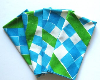 Vintage VERA Cloth Napkins - Set of FOUR - Blue and Green Geometric Print - Fabric Napkins