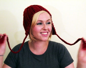 Knit Slouchy Earflap Hat - Deep Red