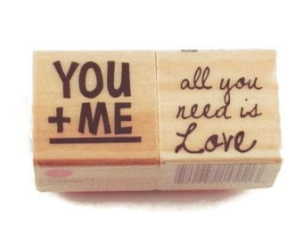 Mini  Rubber Stamp Set  -  YOU and ME