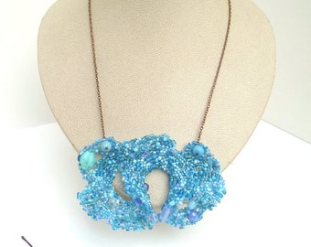 Free form peyote beaded necklace, AZURE IV, marked down 50%, statement, light blue beads, Coachella