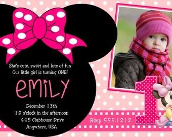 Minnie Mouse 1st Birthday Invitations, Printable Digital File