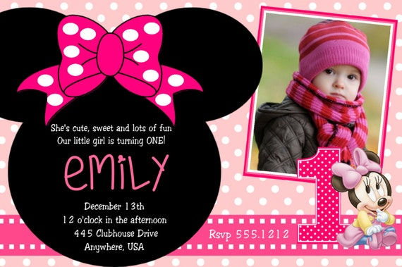 items similar to minnie mouse 1st birthday invitations, printable, Birthday invitations