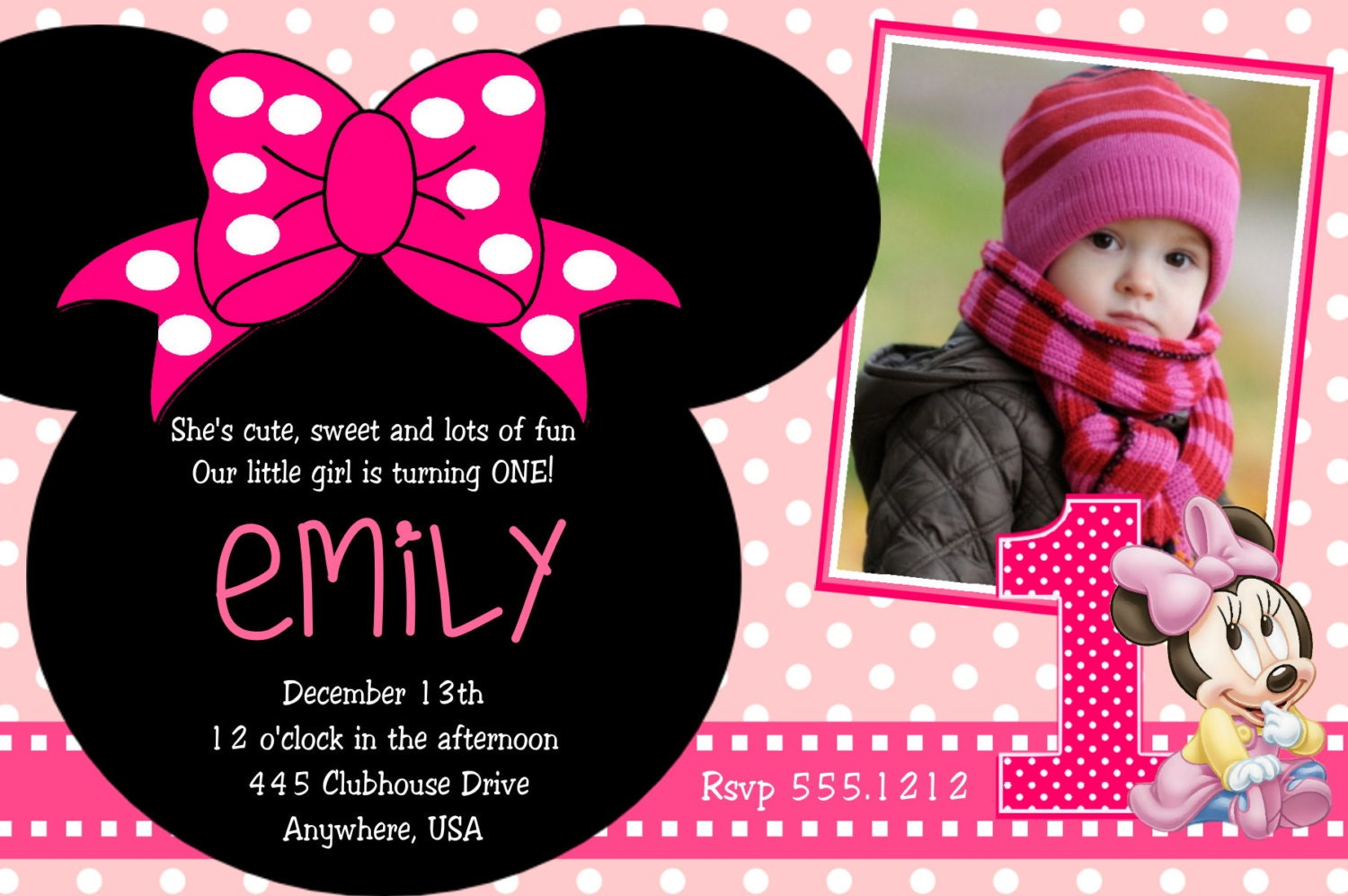 Minnie Mouse Party Invites as adorable invitations design