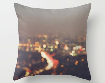 pillow cover, LA throw pillow, decorative pillow cover, Los Angeles home decor, bokeh photograph, black rainbow color gray, cushion, winter