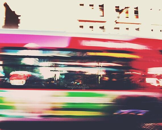 urban photography, bus photograph, whoosh, downtown Los Angeles vibrant rainbow cherry red LA city streets transportation, loft decor print