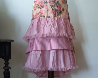 Powder pink taffeta skirt, taffeta boho skirt with ruffles and tulle ruffles, glamorous high low skirt, romantic taffeta and flowers skirt