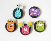 Monster Party Magnets Children's Room Decor in Bright Rainbow Summer Colors for Office, Kids, School, Unisex Birthday Play Room Decoration