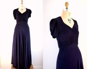 r e s e r v e d Vintage 30s Midnight Navy Silk Smocked Formal Gown