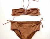 70s bikini / Vintage 70s Mocha Nylon Keyhole High Rise Halter Swimsuit