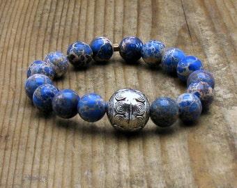 Blue Aqua Terra Jasper Pewter Beaded Bracelet, Modern Stretch Bracelet , for Her Under 50