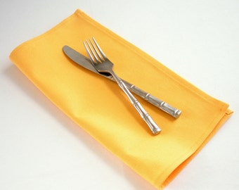 Organic Napkins, Eco Friendly Cloth Napkins, Reusable - Yellow, Set of Four