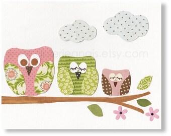 Owls Nursery Art pink green nursery decor Bird Nursery - baby Girl nursery wall Art kids room decor - Les Hiboux print