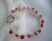 Red Crystal Bead Crochet Wire Bracelet Silver Plated Non Tarnish Nickel Free Hand Crocheted by handcraftusa