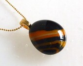Layered Orange and Black Small Fused Glass Pendant
