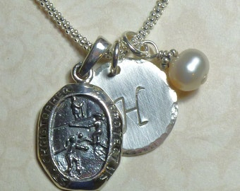 Volleyball Player Protect Us St Christopher Medal Sterling Silver Pendant Charm Necklace - St Christopher Necklace - VolleyBall Necklace
