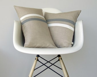 Gray and Cream Striped Pillow Set | (12x20) and (16x16) by JillianReneDecor | Modern Home Decor | Ash Gray | Paloma (READY TO SHIP)