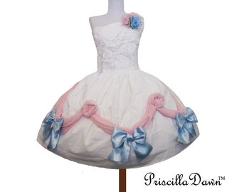 Summer sALE Sweet Pink and Blue Birthday Cake Bow Lolita Prom Cupcake Dress ------Custom