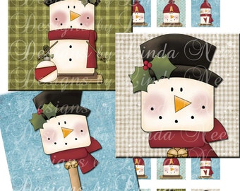 Instant Download - SNOWMAN Smores (.75 x .83 scrabble tile Inch) Images Digital Collage Sheet snow winter tree christmas printable sticker