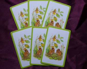 Vintage Baby Mice Playing Cards