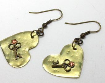 Heart Earrings - Hammered Brass - Metalsmith Jewelry - Key to My Heart Earrings