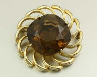 Vintage 60s Brooch with Large Amber Glass Stone, Gold Tone, Smoky Quartz, MOD Brooch