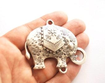 1pc- Matte Oxidized Silver plated Elephant Pendant- 64x54mm-(406-004SP)
