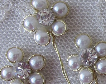 10pc Ivory Pearl Rhinestone Gold Wire Wrapped Wired Flower Applique Bridal Hair Embellishment Button