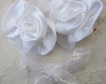 2 pc WHITE Satin Rose Wired Flower Applique w Pearl centers for Pageant Bridal Dress Designs