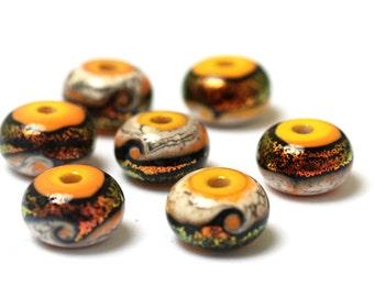 Summer Sunset Waves Rondelle Beads - 10802001 Handmade Glass Lampwork Beads