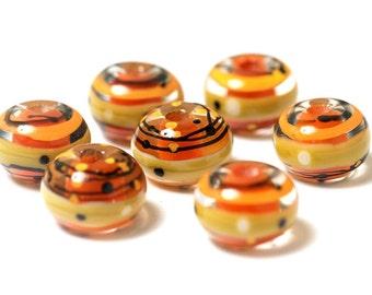 Seven Citron Stripes Rondelle Beads - 11008001 Handmade Glass Lampwork Bead Set