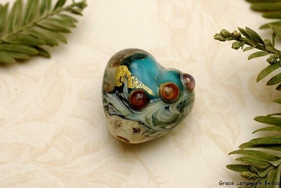 Teal Treasure Heart Focal Bead - Handmade Glass Lampwork Bead 11819305