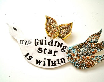 Large Poetry Bird Wall Hanging Sculpture - Guiding Star Is Within - HandMade Letterpress Stamped Fine Art Sign, Plaque - Inspirational Quote