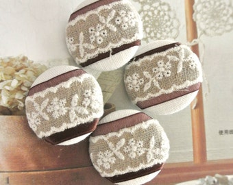 """Large Wedding Off White Brown Beige Ribbon Floral Lace Fabric Covered Buttons, Wedding Retro Fridge Magnets, Flat Backs, 1.25 """" 4's"""