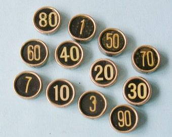 1 Antique Vintage Cash Register Key Typewriter Key  DIY Jewelry Cufflinks Weddings Pendants Cash Register Keys