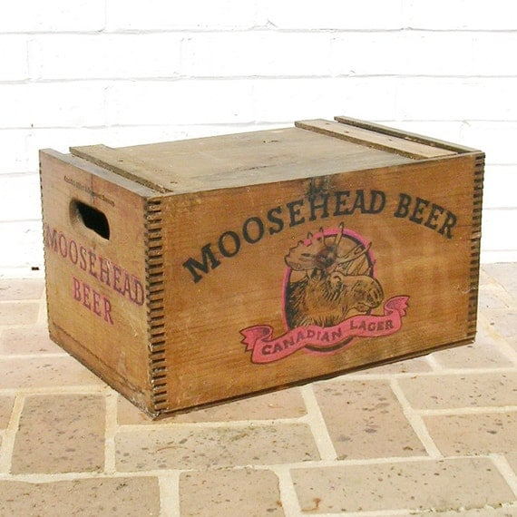 antique vintage wood wooden box crate moosehead beer box crate