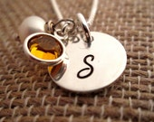 Initial Necklace - Bridesmaid Necklace - Monogram Necklace - Hand Stamped Necklace