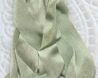 Moss silk ribbon 13mm or half-inch wide. 3 yards