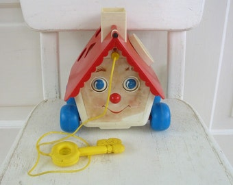 Vintage Child Fisher Price Toy Pull Sixties Retro House