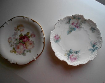 Vintage set of 2 different Shabby Chic  Look Porcelain Plates Roses Made in Germany