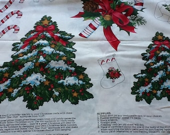 Cotton Fabric, Christmas Appliqué Fabric, One Yard, Poinsettia, Candy Canes