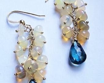 October birthstone Opal & London Blue Topaz gold dangle earrings,something blue bridal jewelry,blue earrings, opal earrings,