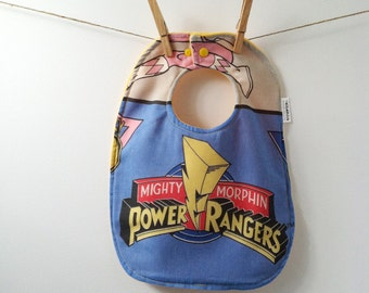 Mighty Morphin Power Rangers Baby Gift - Baby Bib Upcycled from Vintage Sheets - MMPR Bib - Power Rangers Baby Shower Gift