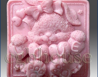 2D silicone Soap/Guest/polymer/clay/coldporcelain mold-Love Bunny - free shipping