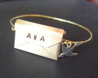 Personalized Gold  envelope locket Bangle, brass customizable bangle, stackable bangle, gift, name, custom bracelet, monogrammed bracelet