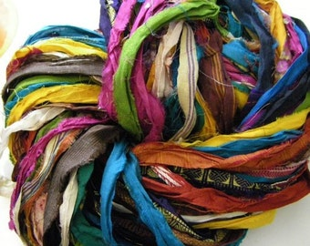 SILK RIBBON: made from recycled saris- 100gr skein